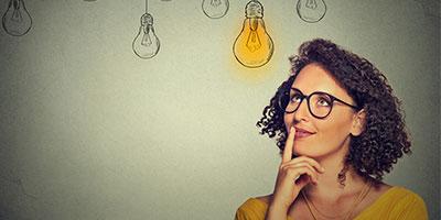 woman with cartoon lightbulb