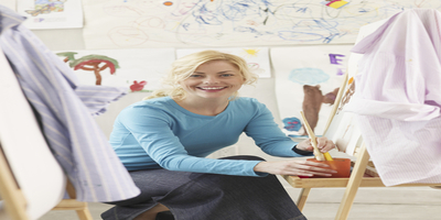 art teacher in art classroom