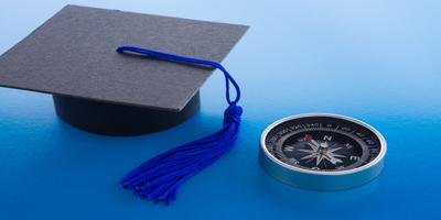 graduation cap and compass