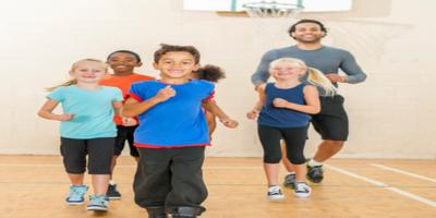 pe teacher running with children