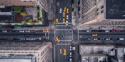 cars in a busy intersection